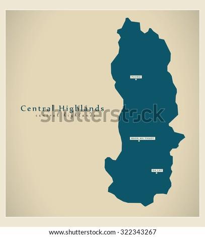 Modern Map - Central Highlands VN