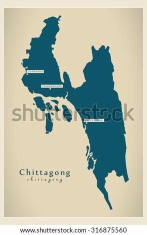 Modern Map Chittagong Bd Stock Photo Photo Vector Illustration