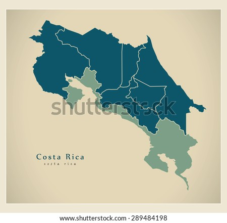 Modern Map - Costa Rica with provinces CR - stock vector