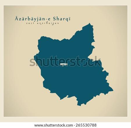 Modern Map - East Azerbaijan IR - stock vector