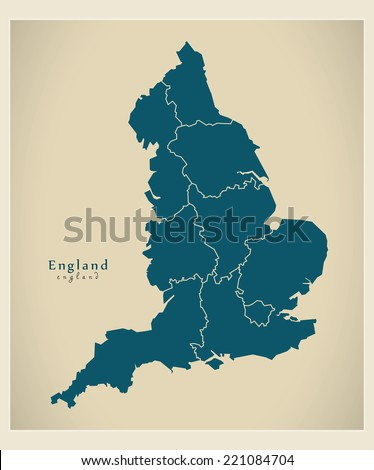 Modern Map - England with counties UK - stock vector