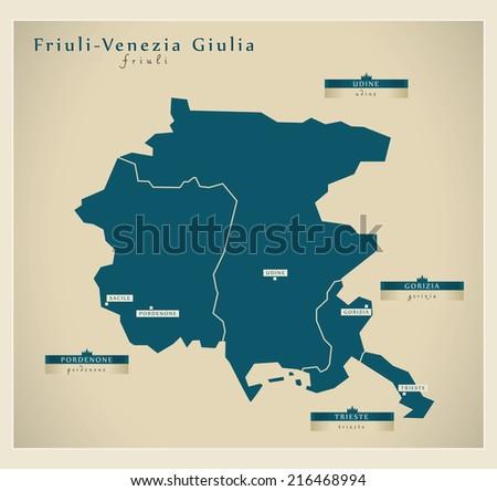 Modern map - Friuli-Venezia Giulia IT - stock vector
