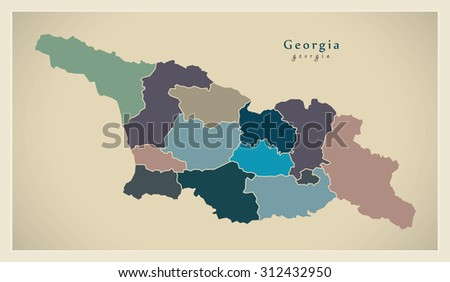 Modern Map - Georgia with provinces political details GE