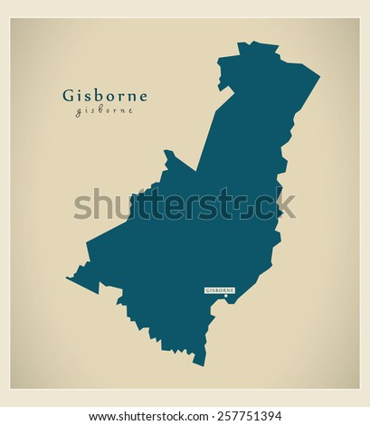Modern Map - Gisborne NZ - stock vector