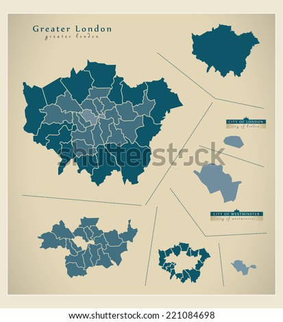 Modern Map - Greater London UK - stock vector
