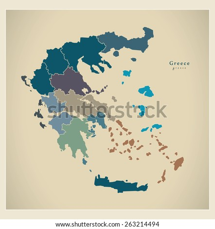 Modern Map - Greece with regions GR - stock vector