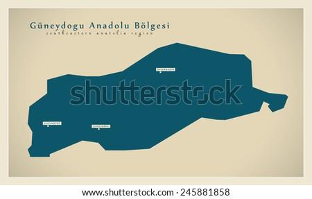 Modern Map - Guneydogu Anadolu TR - stock vector