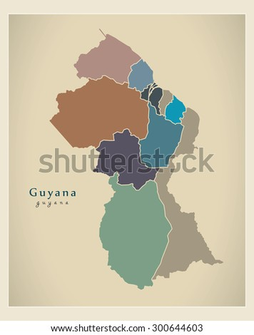 Modern map guyana regions colored gy stock vector 300644603 modern map guyana with regions colored gy sciox Images