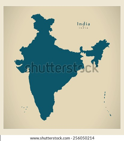 Modern Map - India IN - stock vector