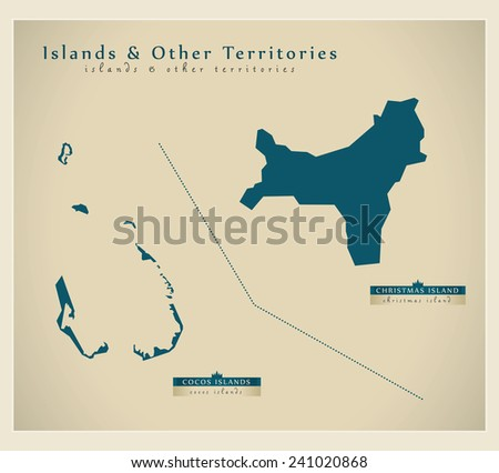 Modern Map -  Islands And Other Territories AU - stock vector