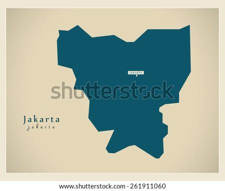Modern Map Jakarta Id Stock Vector 261911060 Shutterstock