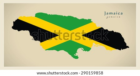 Modern Map - Jamaica colored JM - stock vector