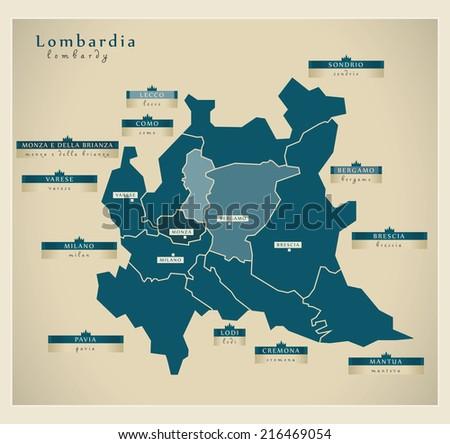 Modern map - Lombardia IT - stock vector