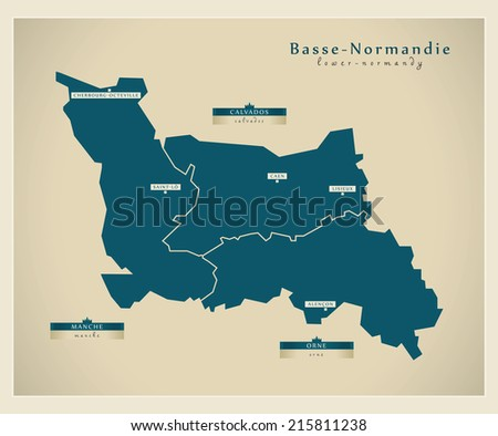 Modern map - Lower Normandy FR - stock vector