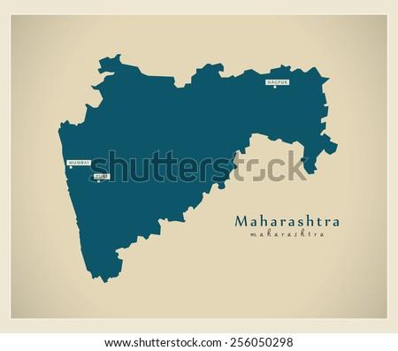 Modern Map - Maharashtra IN - stock vector