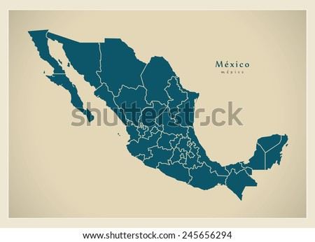 Modern Map - Mexico with federal states MX - stock vector