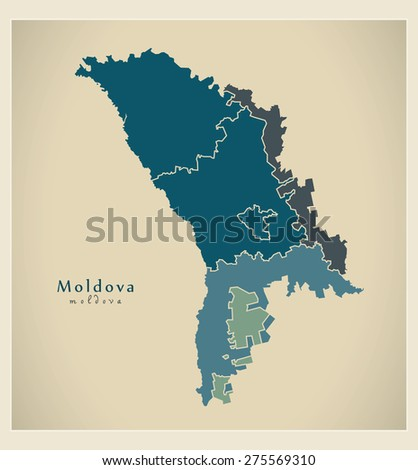 Modern Map - Moldova with development regions MD
