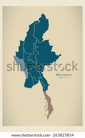 Modern Map - Myanmar with states and divisions MM - stock vector