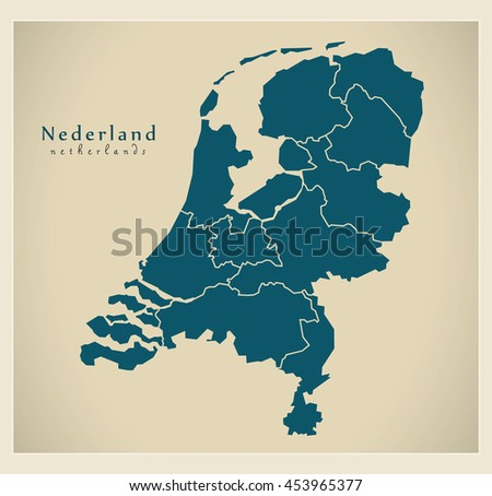 Modern Map - Netherlands with provinces NL
