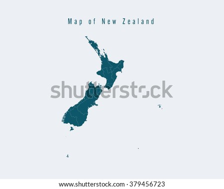 Modern Map - New Zealand with federal states