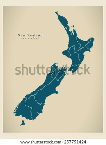 Modern Map - New Zealand with regions NZ - stock vector