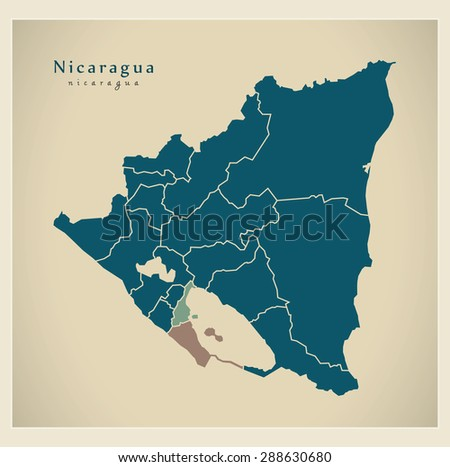 Modern Map - Nicaragua with regions NI - stock vector