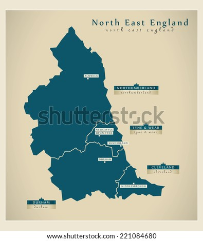 Modern Map - North East England UK - stock vector