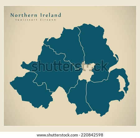 Modern Map - Northern Ireland with counties UK - stock vector