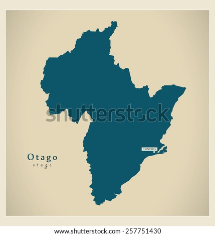 Modern Map - Otago NZ - stock vector