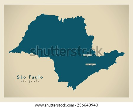 Modern Map - Sao Paulo BR - stock vector