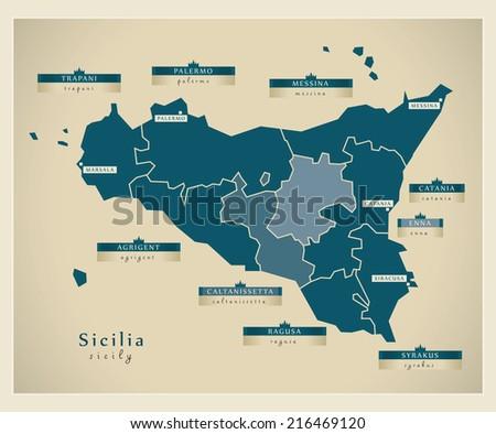 Modern map - Sicilia IT - stock vector
