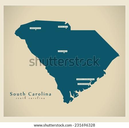 Modern Map - South Carolina USA - stock vector