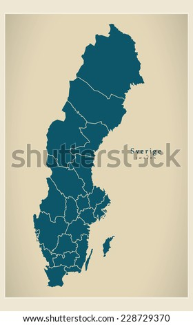 Modern Map - Sweden SE - stock vector