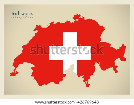 Modern Map - Switzerland flag colored CH