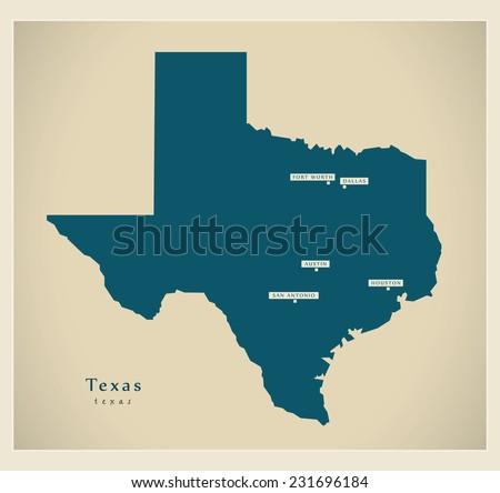Modern Map - Texas USA - stock vector