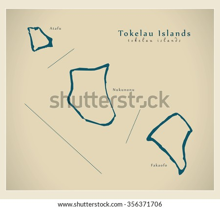 Modern Map Tokelau Islands Names Tk Stock Vector - Tokelau map