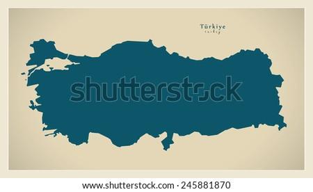 Modern Map - Turkey TR - stock vector
