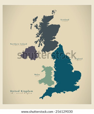 Modern Map - United Kingdom UK - stock vector