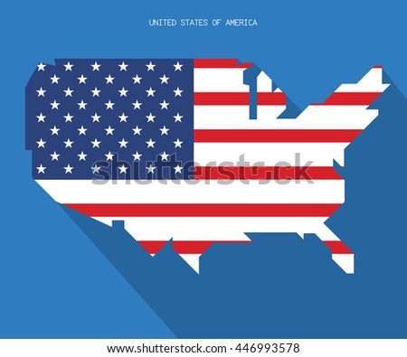 Modern Map United States Usa Vector Independence Day Background Stock Vector
