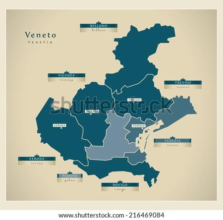 Modern map - Veneto IT - stock vector