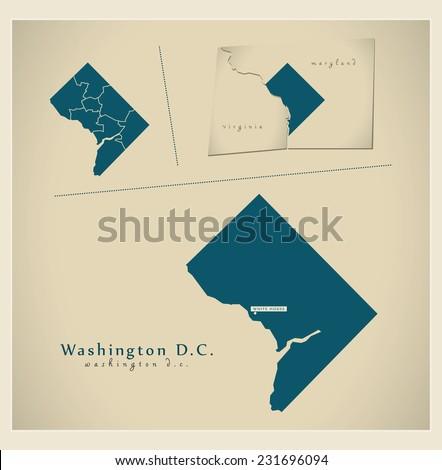 Modern Map - Washington D.C. USA - stock vector
