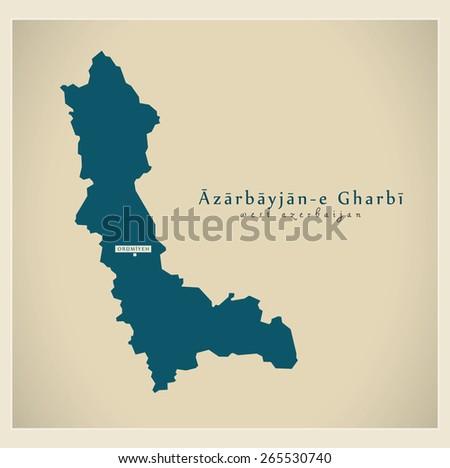 Modern Map - West Azerbaijan IR - stock vector