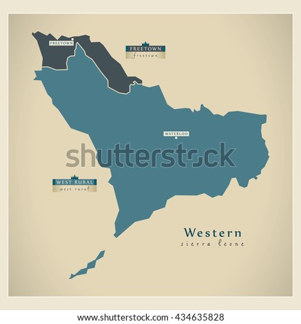 Modern Map - Western Province Districts detailed SL