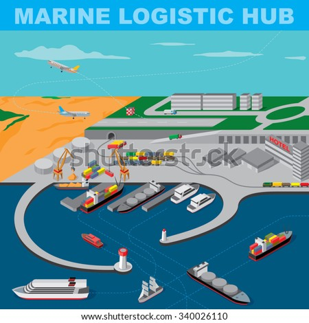 modern marine logistic hub - stock vector
