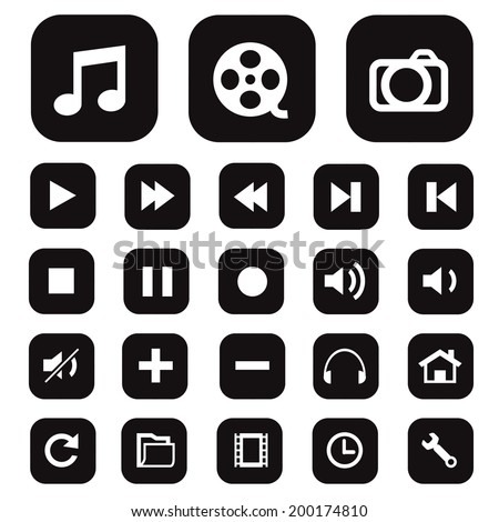 Modern media icons isolated for use. - stock vector