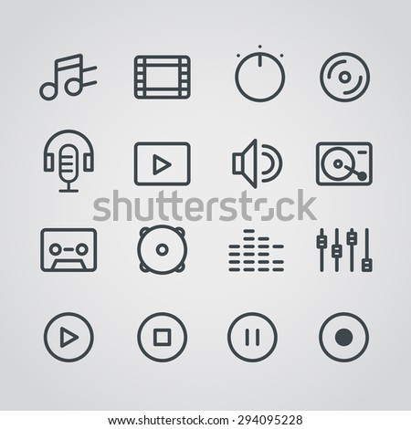 Modern media web silhouettes collection - stock vector