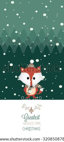 Modern Merry Christmas and New Year elements. Cute Christmas character - stock vector