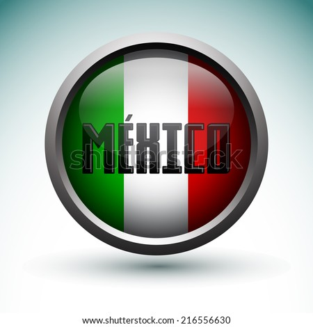 Modern Mexico icon - emblem, button with flag of Mexico - stock vector