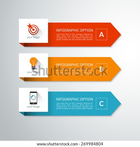 Modern minimal arrow elements for business infographics. Material style. Vector illustration. Can be used for workflow layout, brochure, diagram, chart, number and step up options, web design - stock vector