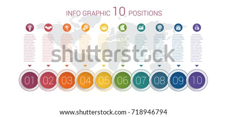 Modern minimal colorful diagram info graphics. Vector template 10 positions against the background of the world map.